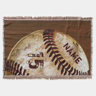 Personalized Vintage Baseball Blankets Name Number Throw Blanket