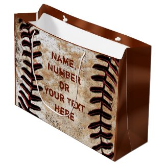 PERSONALIZED Vintage Baseball Gift Bags YOUR TEXT Large Gift Bag