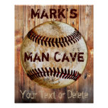 PERSONALIZED Vintage Baseball Man Cave Posters