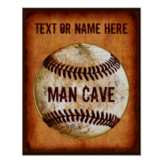 PERSONALIZED Vintage Baseball Man Cave Wall Decor Poster