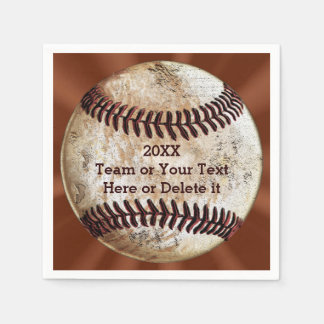 Personalized Vintage Baseball Napkins YOUR TEXT