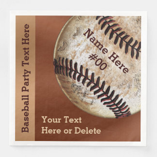Personalized Vintage Baseball Napkins, Your Text Paper Dinner Napkin