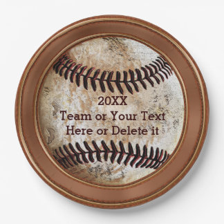 Personalized Vintage Baseball Paper Plates