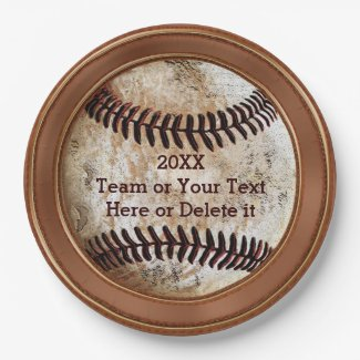 Personalized Vintage Baseball Paper Plates 9 Inch Paper Plate