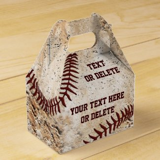 Personalized Vintage Baseball Party Favors Boxes