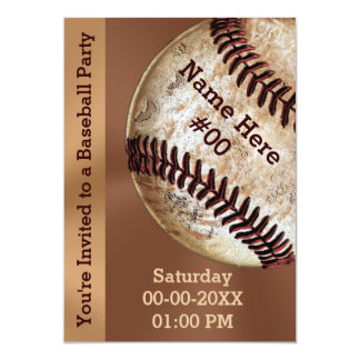 Personalized Vintage Baseball Party Invitations