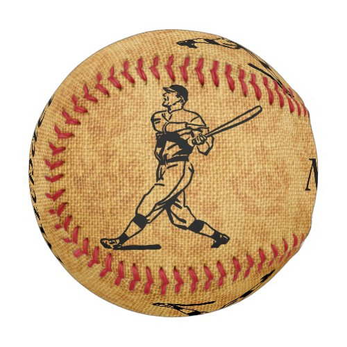 Personalized Vintage Baseball Player on Aged Jute