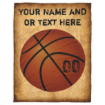Personalized Vintage Basketball Fleece Blanket