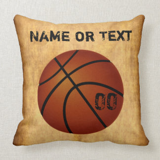 Personalized Vintage Basketball Throw Pillow