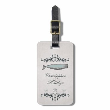 Beach Themed Personalized Vintage Beach Whale Wedding Bag Tag