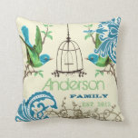 Personalized Vintage Bird Birdcage Damask Pillows