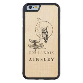 Personalized Vintage Black Owl Carved Maple iPhone 6 Bumper Case