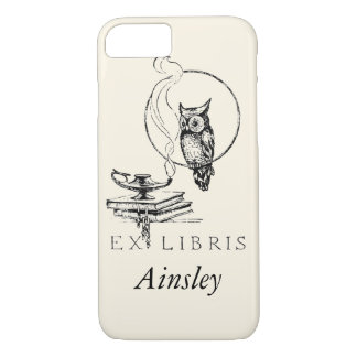 Personalized Vintage Black Owl iPhone 7 Case