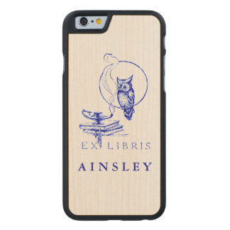 Personalized Vintage Blue Owl Carved Maple iPhone 6 Case