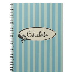 Personalized Vintage Blue Stripes Notebook