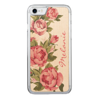 Personalized Vintage blush pink roses Peonies Carved iPhone 7 Case
