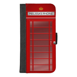 Personalized Vintage British Telephone Booth iPhone 8/7 Plus Wallet Case