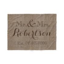 Personalized Vintage Burlap-Look Rustic/Wedding Fleece Blanket