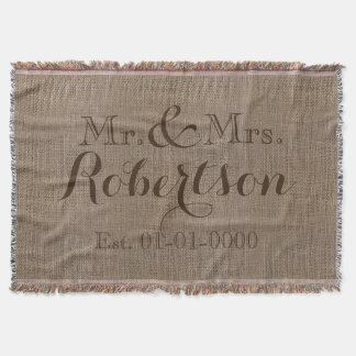 Personalized Vintage Burlap-Look Rustic/Wedding Throw Blanket