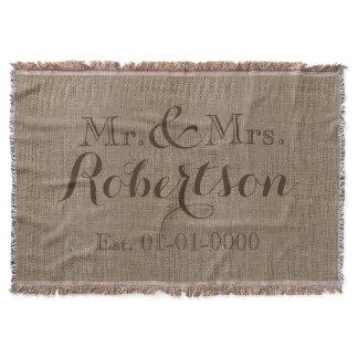 Personalized Vintage Burlap-Look Rustic/Wedding Throw Blanket