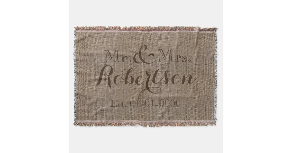 Personalized Vintage BurlapLook RusticWedding Throw Blanket Delectable Personalized Wedding Throw Blanket