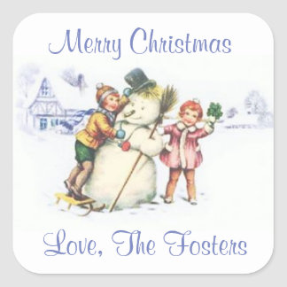 Personalized Vintage Christmas Snowman Stickers
