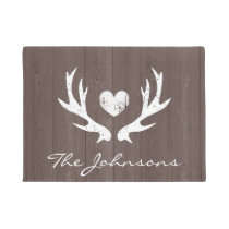 Personalized vintage country deer antlers doormat