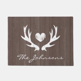 Personalized vintage country deer antlers doormat