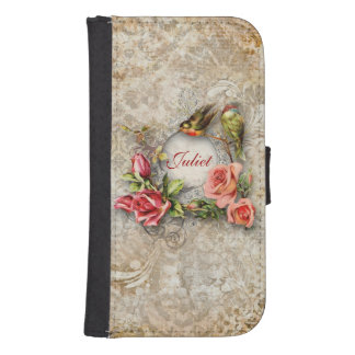 Personalized Vintage Damask Rose Galaxy S4 Wallet Cases