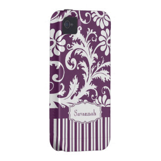 Personalized Vintage Eggplant Damask and Stripe Case-Mate iPhone 4 Cases