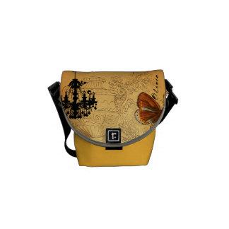 Personalized Vintage Ephemera Chandelier Urn Courier Bag