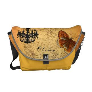 Personalized Vintage Ephemera Chandelier Urn Messenger Bag