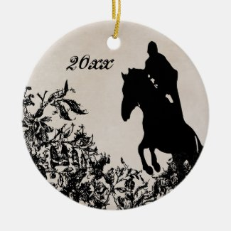 Personalized Vintage Equestrian Horse Jumping Double-Sided Ceramic Round Christmas Ornament