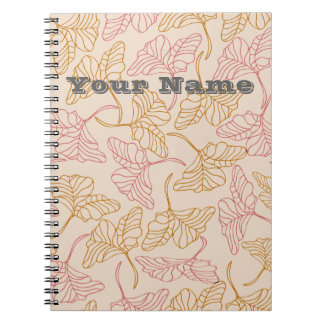 Personalized vintage floral leafs in yellow & pink spiral notebook