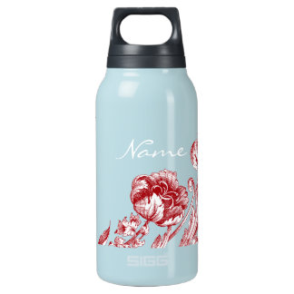 Personalized Vintage Flower Red and Blue Insulated Water Bottle