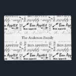 """Personalized Vintage French Bon Appetit Gourmet Placemat<br><div class=""""desc"""">Black and white vintage pattern of the words &quot;Bon Appetit&quot; and forks. Time for dinner!  Add your own text - family names,  couples names,  birthday wishes,  etc.</div>"""