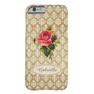 Personalized Vintage Gold Damask Pattern Pink Rose iPhone 6 Case