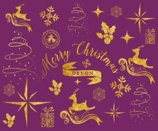 personalized vintage gold purple christmas wrap wrapping paper - Christmas Wrap
