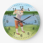 Personalized Vintage Golfer by Riverbank Round Wallclock