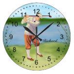 Personalized Vintage Golfer by Riverbank Round Wallclock