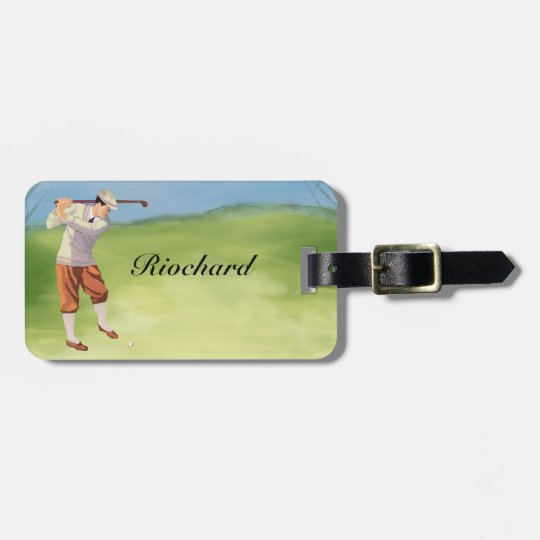 Personalized Vintage Golfer by the Riverbank Bag Tag