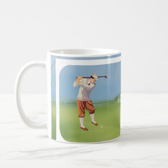 Personalized Vintage Golfer by the Riverbank Coffee Mug