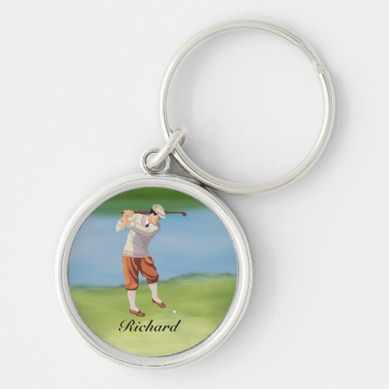 Personalized Vintage Golfer by the Riverbank Keychain