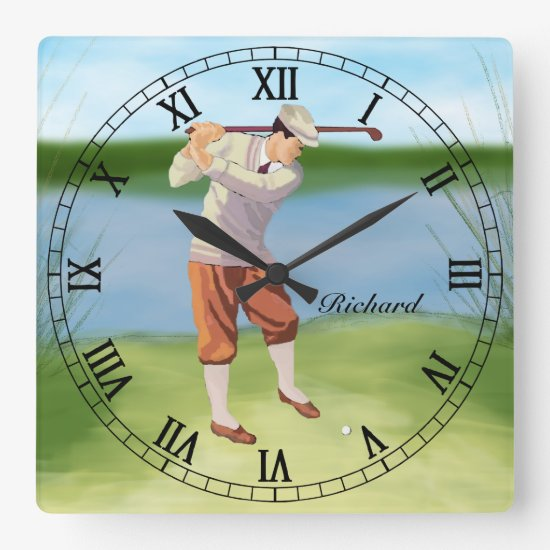 Personalized Vintage Golfer by the Riverbank Square Wall Clock