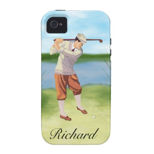 Personalized Vintage Golfer by the Riverbank Vibe iPhone 4 Case