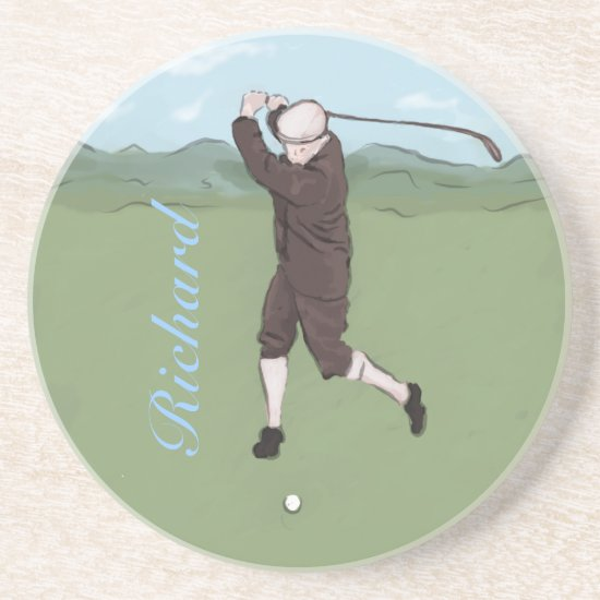 Personalized vintage golfer coaster