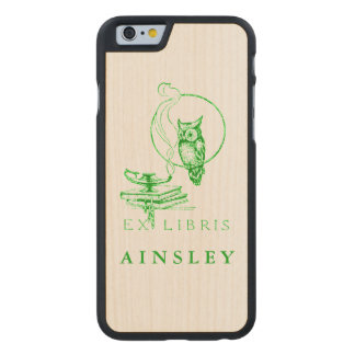 Personalized Vintage Green Owl Carved Maple iPhone 6 Slim Case