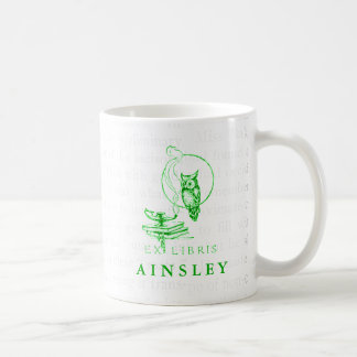 Personalized Vintage Green Owl Collage Coffee Mug