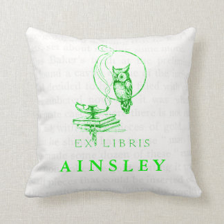 Personalized Vintage Green Owl Collage Pillow