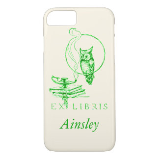 Personalized Vintage Green Owl iPhone 7 Case